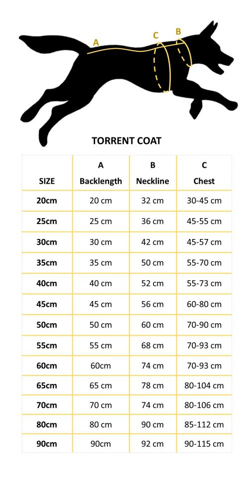 Torrent Coat Size Chart Dogs Outside NZ