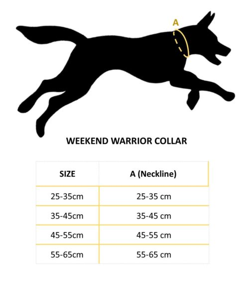 Weekend Warrior Collar size chart NZ