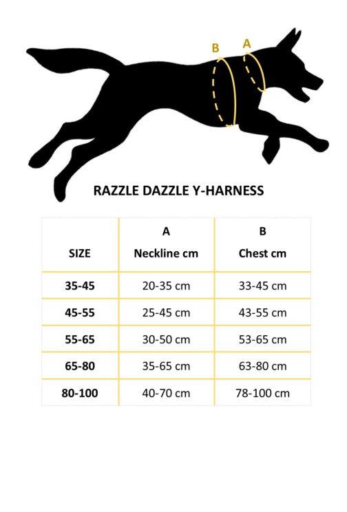 Razzle Dazzle Y-Harness size chart NZ